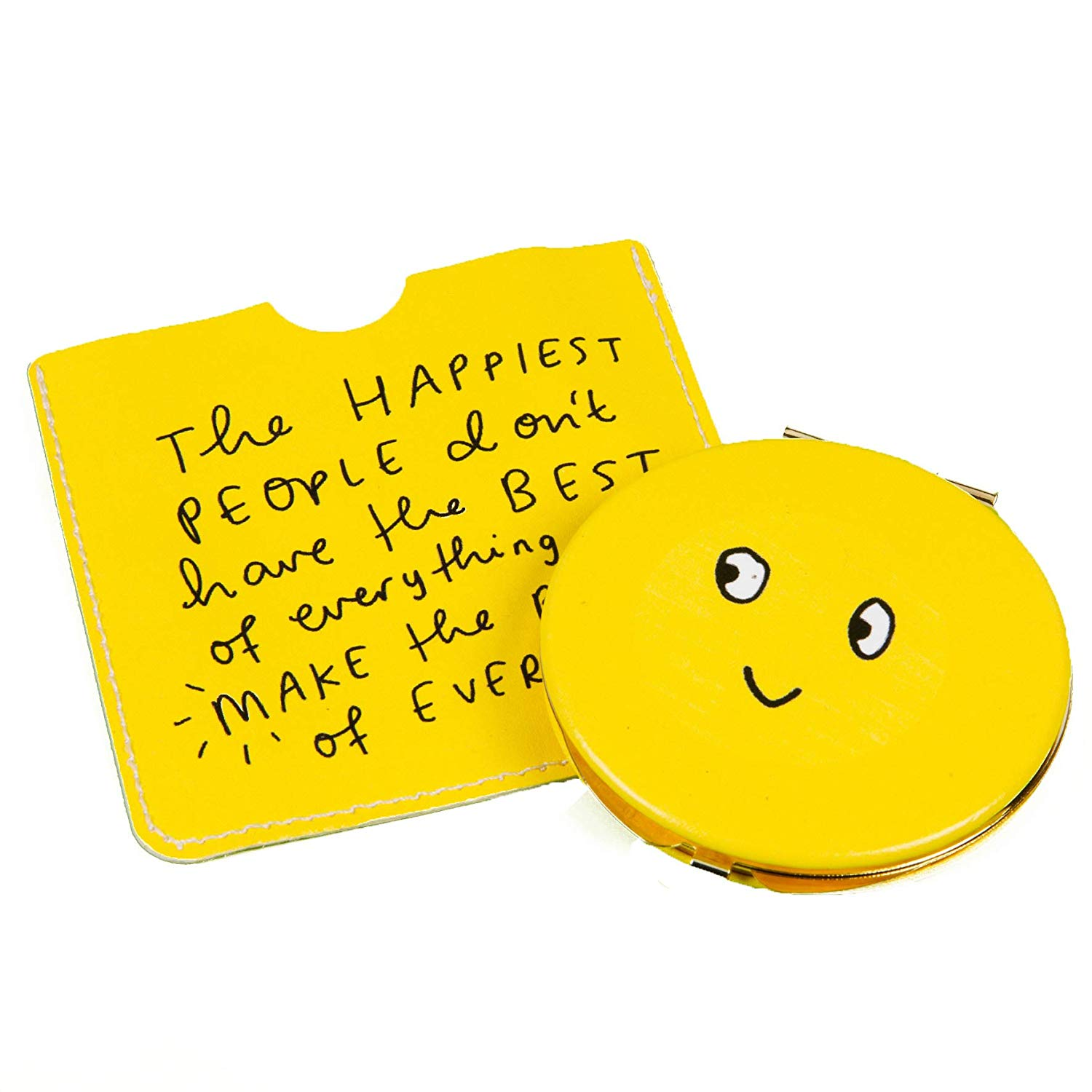 The Happy News Compact Mirror & Pouch - Smiley Face